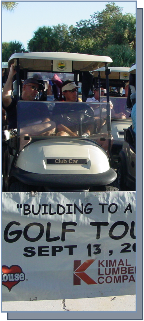 Building to a cure banner with golf cart image