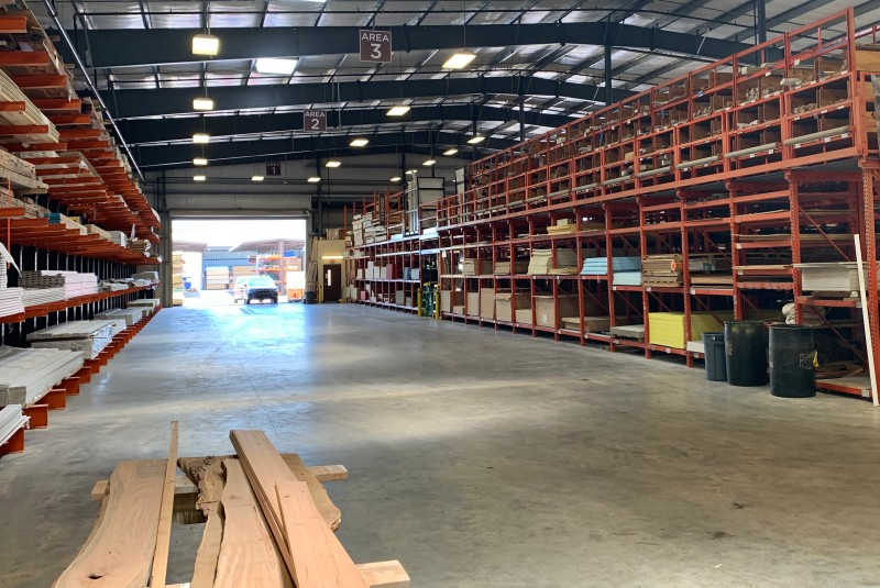 Photo of the interior of a Kimal Lumber warehouse
