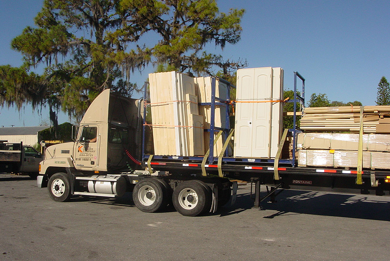 Semi carrying doors and other wood products image